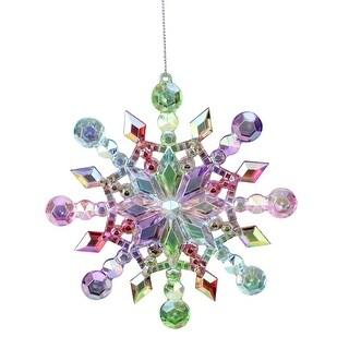 5 Rainbow Iridescent Snowflake Christmas Ornament - multi
