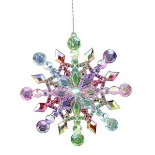 5 rainbow iridescent snowflake christmas ornament multi