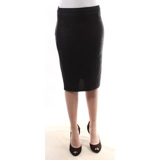 Womens Black Printed Above The Knee Pencil Skirt Size 2XS