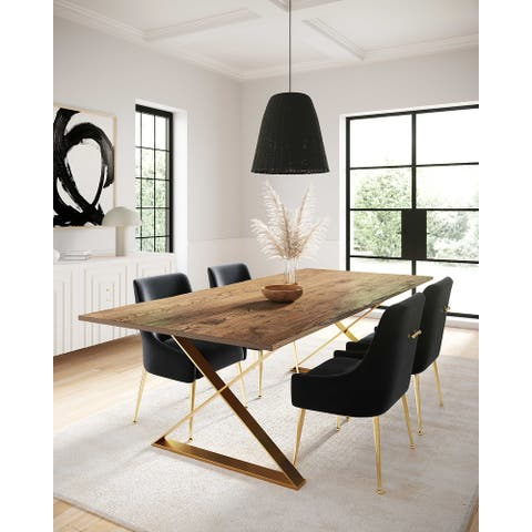 Leah Goldtone Stainless Steel and Wood Dining Table