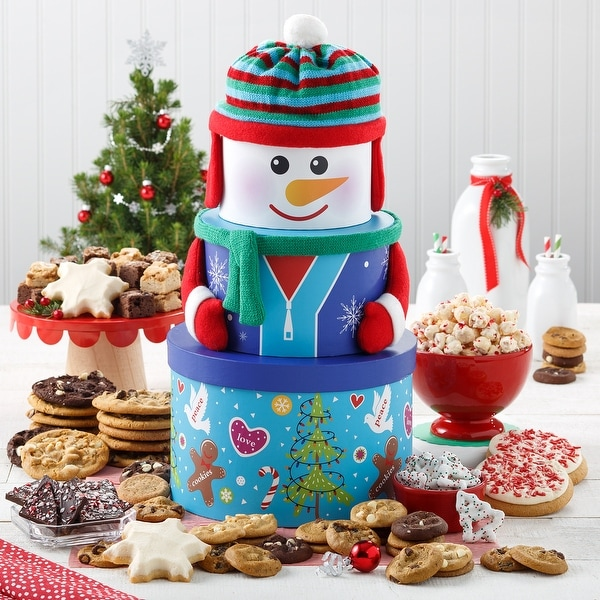 Mrs. Fields Abundant Snowman Cookie Tower. Opens flyout.