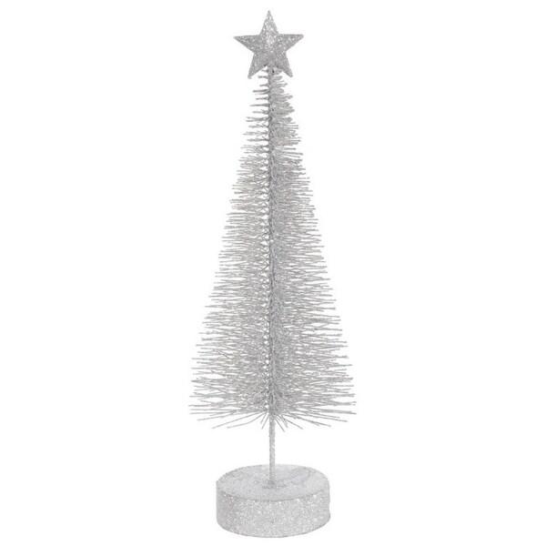 "Pack of 2 Silver Splendor Glitter Sisal Artificial Table Top Christmas Trees 12"""
