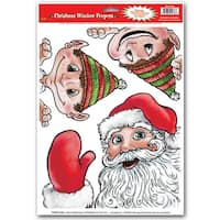 Club Pack of 36 Peeper Santa and Elves Window Clings Christmas Decorations 17""