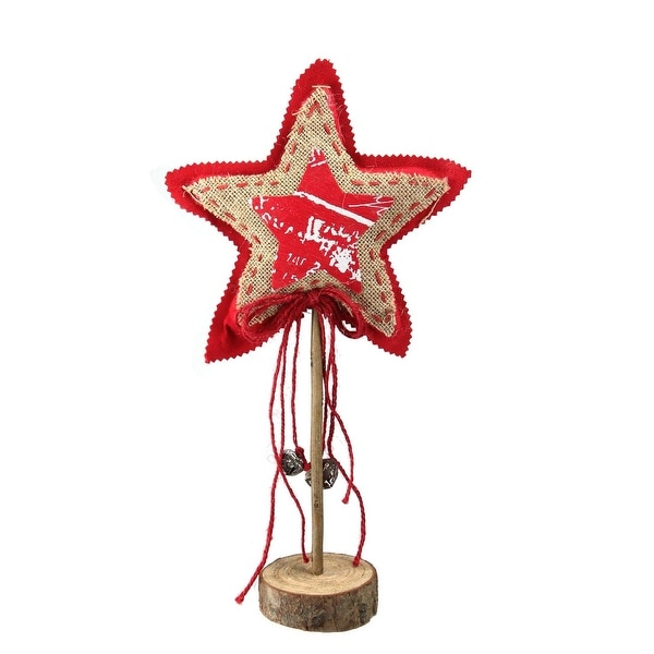"15"" Country Rustic Red and Brown Star with Bells Christmas Tabletop Decoration"