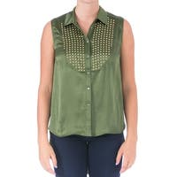 Elizabeth and James Womens Misaki Casual Top Silk Studded