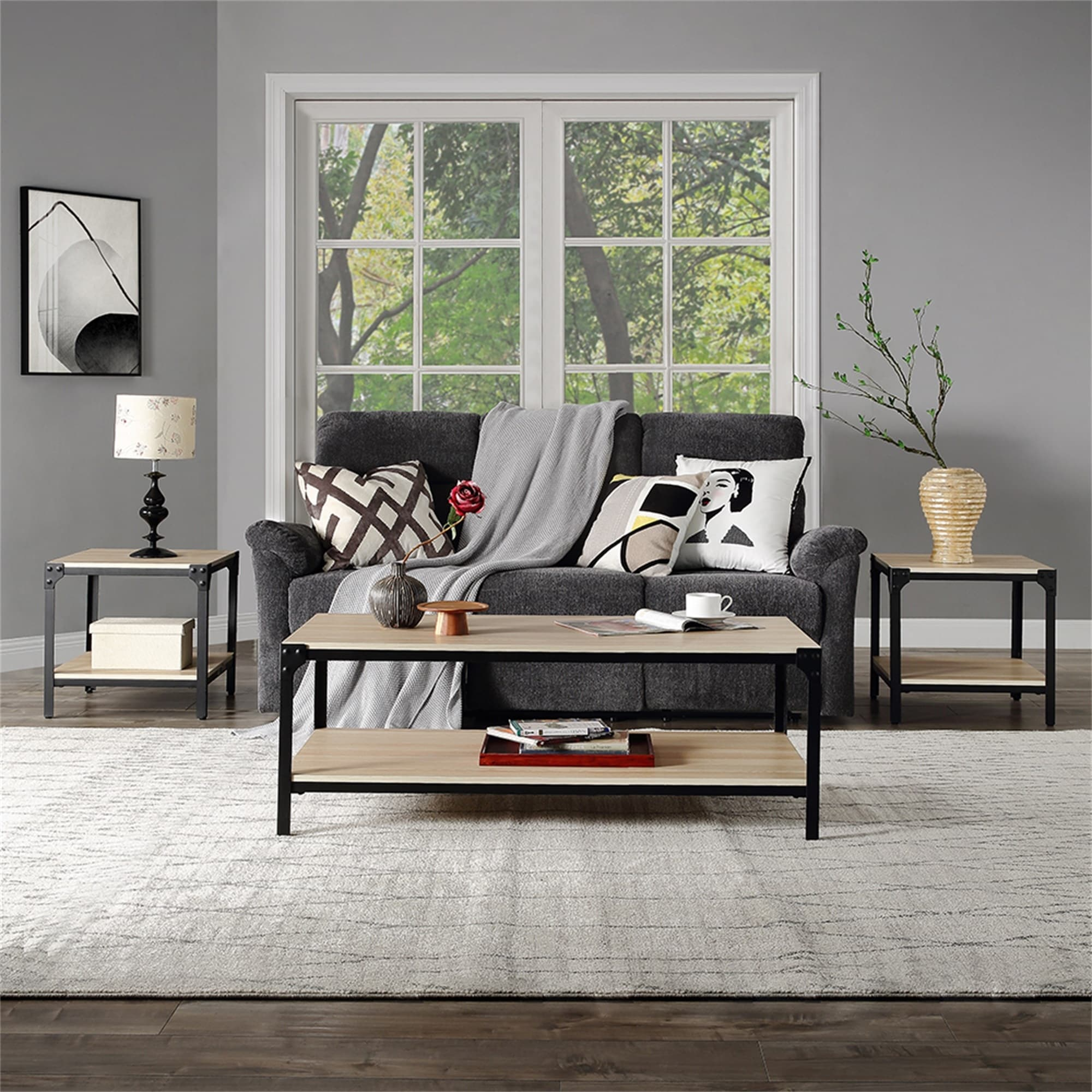 Picture of: 3 Piece Coffee End Table Set Wood Modern Living Room Furniture Decor On Sale Overstock 31806355