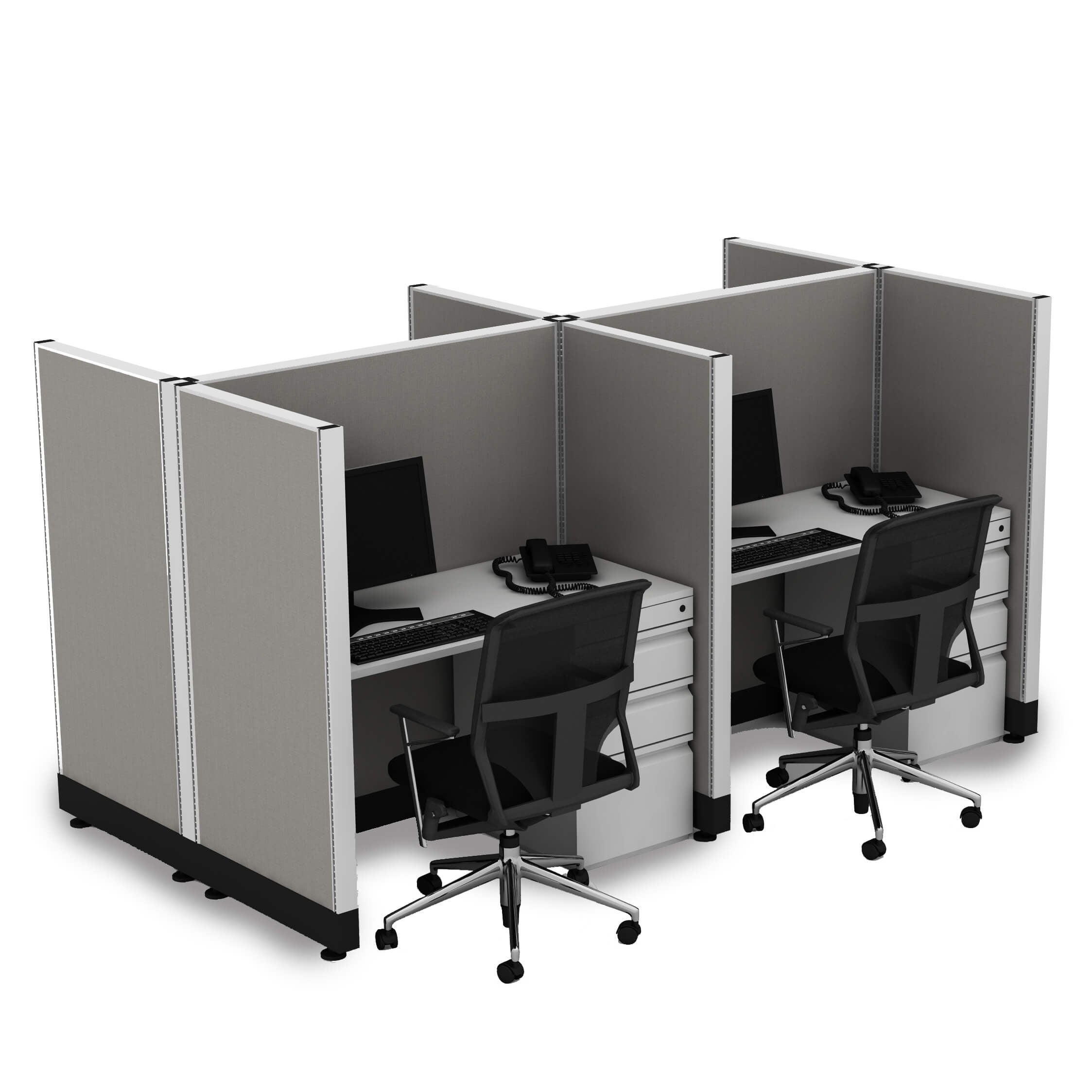 Office Cubicle Desk 53H 4pack Cluster Unpowered (4x4 - Espresso Desk Silver Paint - Assembled)