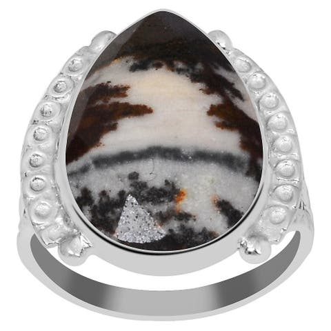 Jasper Sterling Silver Pear Anniversary Ring by Orchid Jewelry
