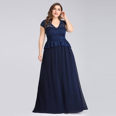 Ever-Pretty Women's Plus Size Lace Long Formal Evening Party Dress 07672