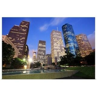 """""""Downtown Houston, Texas at dusk"""" Poster Print"""