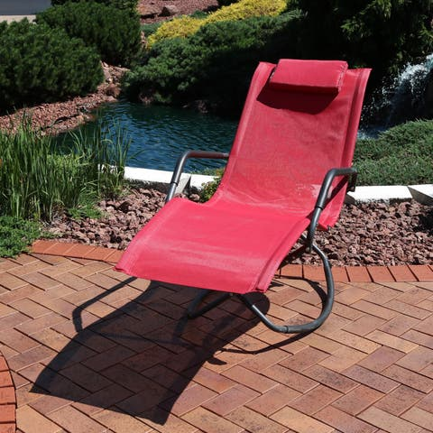 Sunnydaze Outdoor Folding Rocking Chaise Lounger with Headrest Pillow - Red - Single