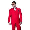 ST-100 Men's 3pc Solid RED Suit, Modern Fit, 2 Button, 2 Side Vent, Flat Front Pants - Thumbnail 0