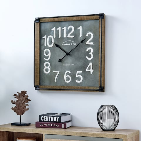 FirsTime & Co.® Liam Industrial Square Wall Clock, American Crafted, Metallic Gray, Fir Wood, 24 x 3 x 24 in - 24 x 3 x 24 in