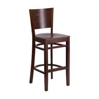 Offex Lacey Series Solid Back Walnut Wooden Restaurant Barstool