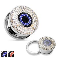 Clear Crystal Eye Surgical Steel Flesh Tunnel (Sold Individually)