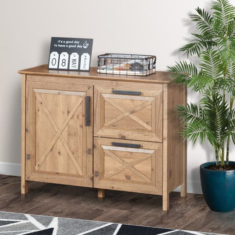 Austin File Drawer with Cabinet, Rustic Brown