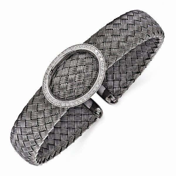 Italian Sterling Silver CZ Black Woven Flexible Cuff