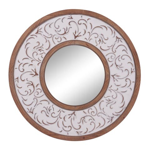 "Traditional Round Wood Medium Brown Wall Mirror 31""D - Multi - 32 x 2 x 32Round"