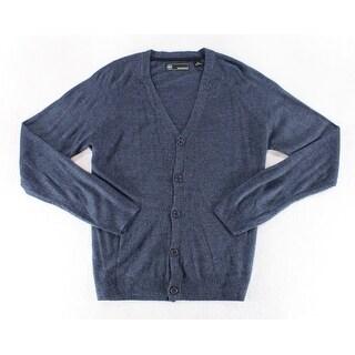 Weatherproof Indigo Blue Mens Size Large L Marled Cardigan Sweater