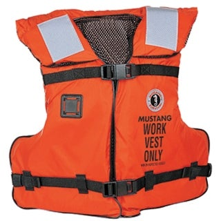Link to Orange and Black Mustang Adult Work Vest with Tape - One Size Similar Items in Boats & Kayaks