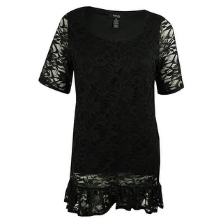Style & Co. Women's Short Sleeve Lace Tunic Top