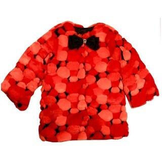 Ricky Flor Little Girls Orange Bubble Sparkle Bow Faux Fur Swing Jacket