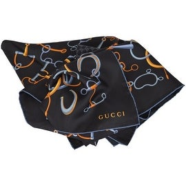 New Gucci 349383 Black Silk Twill Wild Stirrup Horsebit & GG Neck Scarf