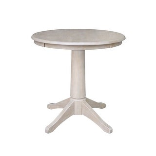 "30"" x 30"" Solid Wood Round Pedestal Table in Washed Gray Taupe"