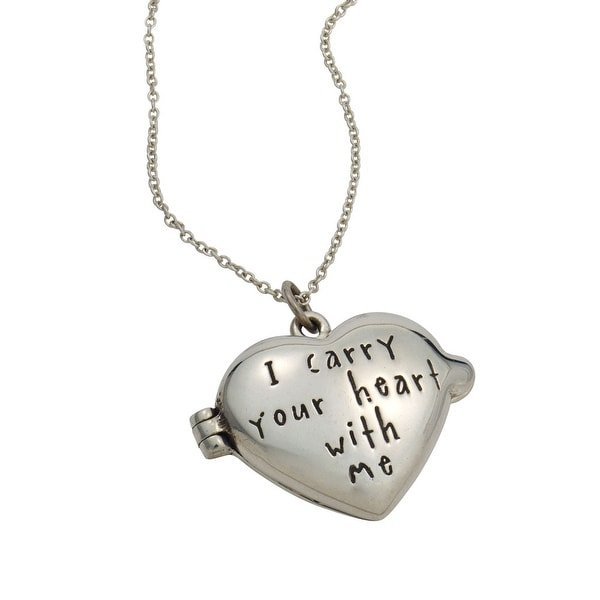 Women's Sterling Silver Pendant - I Carry Your Heart With Me Locket Chain Necklace