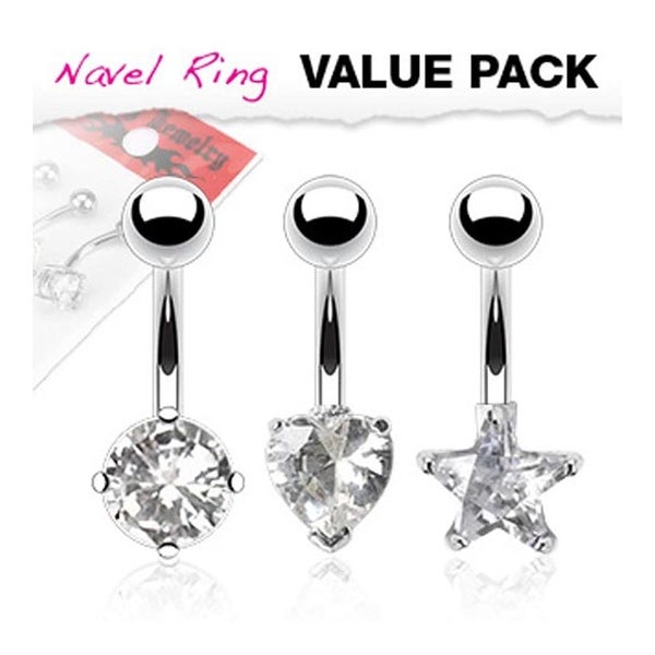 3 Pcs Pack of Assorted Shape Clear CZ Stainless Steel Prong-Set Navel Belly Button Ring
