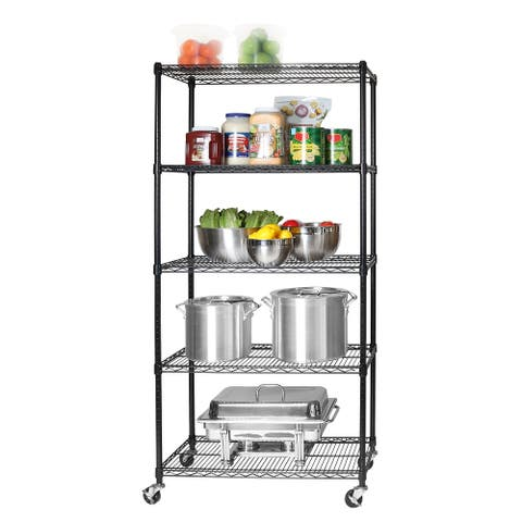 """Seville Classics UltraDurable Commercial-Grade 5-Tier NSF Wire Shelving with Wheels, 36"""" W x 18"""" D x 72"""" H, Black"""
