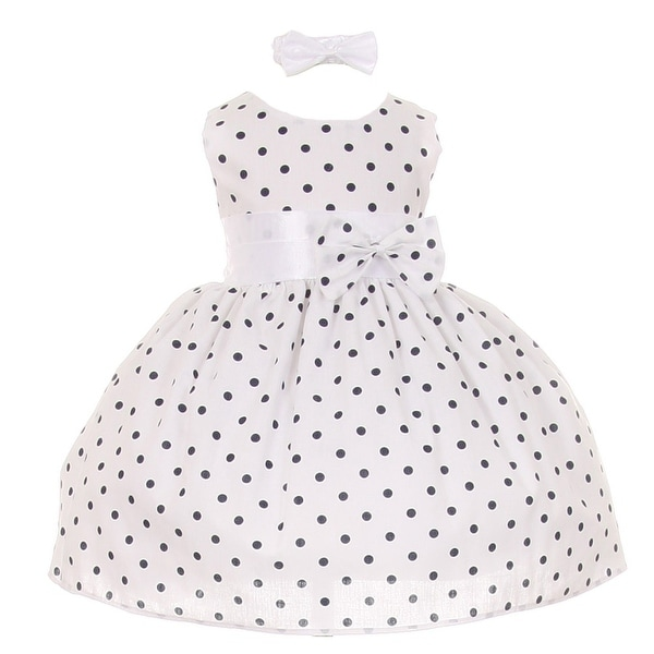 249ff5d34 Shop Baby Girls Navy Polka Dot Headband Special Occasion Dress 3-24M ...