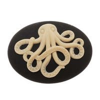 Vintage Style Lucite Oval Cameo Black With Beige Octopus 40x30mm (1 Piece)