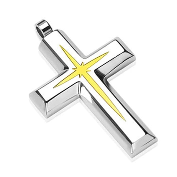 Gold Star Centered Cross Stainless Steel Pendant (27 mm Width)