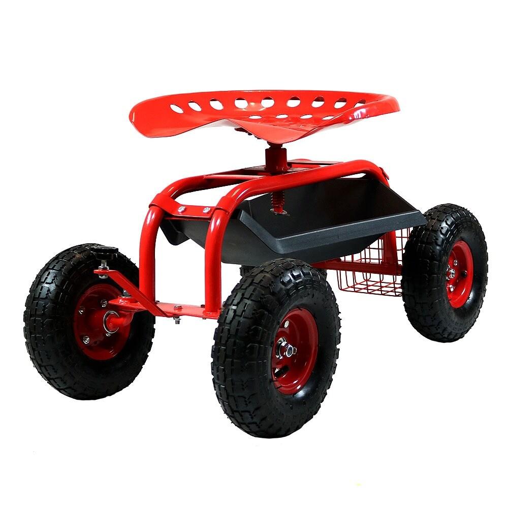 Sunnydaze Rolling Garden Cart with Steering Handle, Swivel Seat & Basket - Thumbnail 12