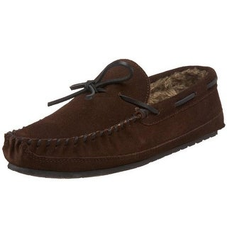 Minnetonka Mens Casey Moccasin Slippers Suede Faux Fur