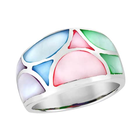 Contempo Geometirc Pattern Multicolored Mother of Pearl Sterling Silver Ring (Thailand)