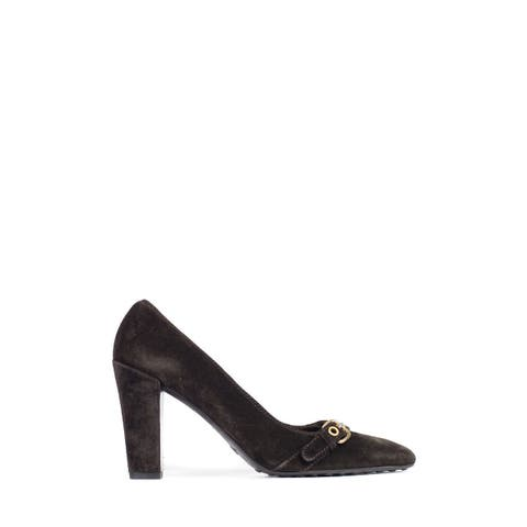 Car Shoe By Prada Chocolate Suede Buckled Square Toe Pumps~RTL $675