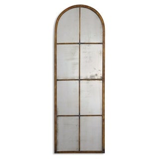 """50"""" Antiqued Maple Brown & Gold Window Shaped Metal Framed Arch Wall Mirror"""