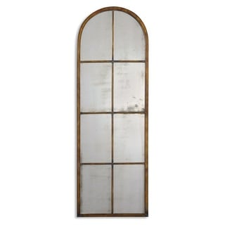 "50"" Antiqued Maple Brown & Gold Window Shaped Metal Framed Arch Wall Mirror - N/A"