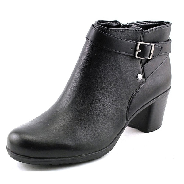 Easy Spirit Adino Women Round Toe Leather Black Ankle Boot