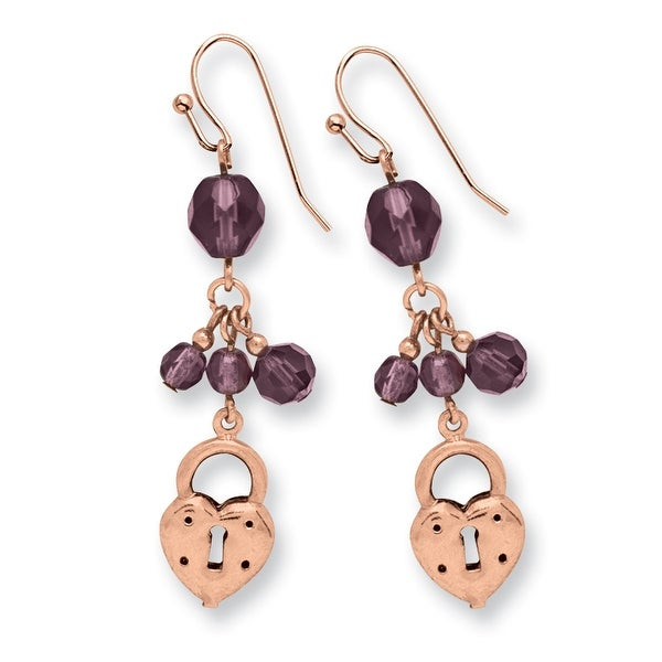 Copper Multicolor Acrylic Beads Post Dangle Earrings