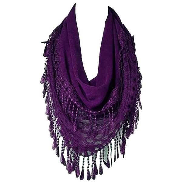 Women's Fancy Lace Fringes Triangle Scarf - Purple