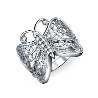 Bling Jewelry Sterling Silver Open Butterfly Filigree Right Hand Ring