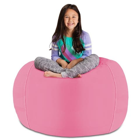 Kids Stuffed Animal Storage Bean Bag Chair Cover or Toy Organizer