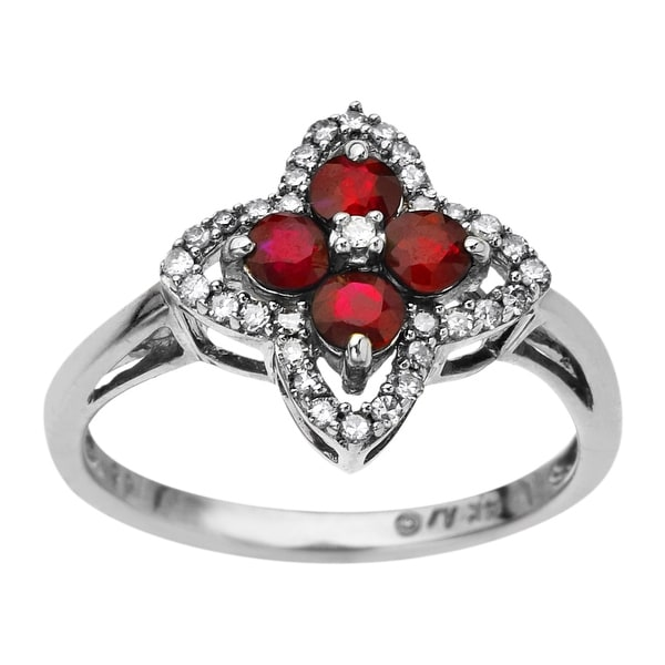 5/8 ct Created Ruby & 1/6 ct Diamond Florette Ring in 10K White Gold - Red