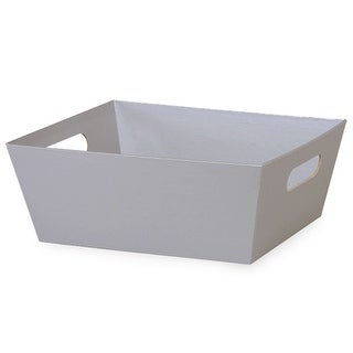 """Pack of 6, Silver Large Wide Base Market Trays 7.25"""" x 9.25"""" x 3.5"""" for Gourmet Gift Baskets, Food Baskets"""