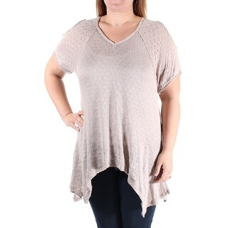 Womens Brown Short Sleeve V Neck Casual Handkerchief Sweater Size M