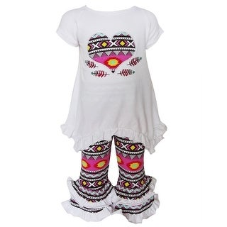 AnnLoren Baby Girls White Aztec Heart Detail Ruffle Pant Outfit