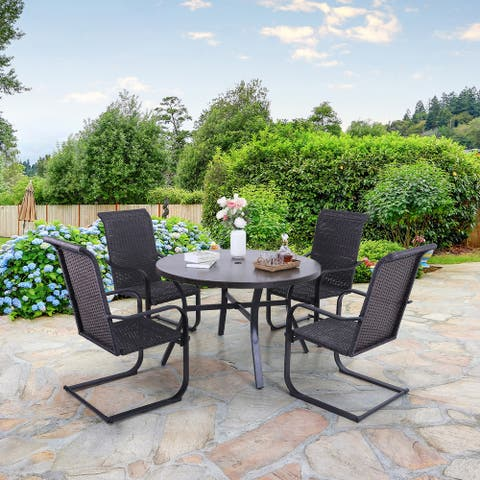 Sophia & William 5-piece Patio Dining Set, 4 C-Spring Rattan Chairs and 1 Metal Table with Umbrella Hole